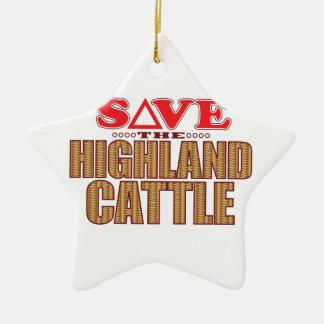 Highland Cattle Save Ceramic Star Decoration