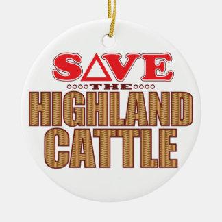 Highland Cattle Save Round Ceramic Decoration