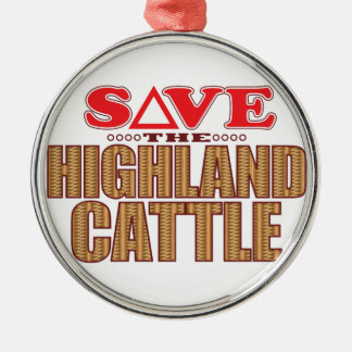 Highland Cattle Save Silver-Colored Round Decoration