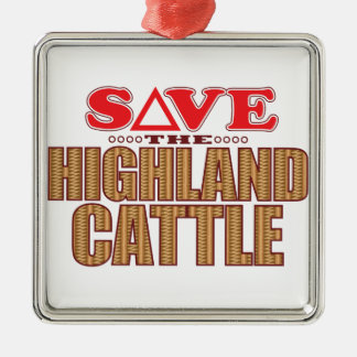 Highland Cattle Save Silver-Colored Square Decoration