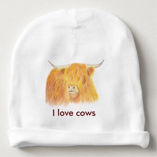 Highland cow baby beanie