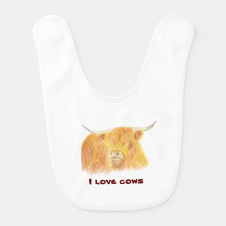 Highland cow baby bib