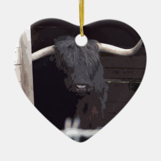 Highland Cow Ceramic Heart Decoration