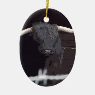 Highland Cow Ceramic Oval Decoration
