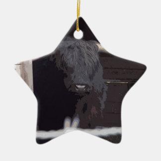 Highland Cow Ceramic Star Decoration