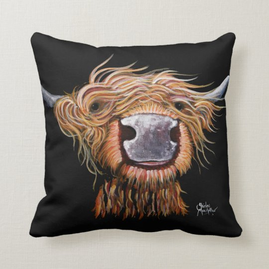 Highland Cow 'Dashing Dougal' Throw Pillow Cushion