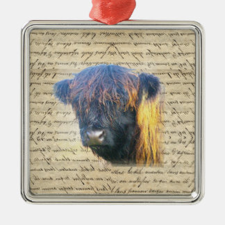 Highland cow square metal christmas ornament