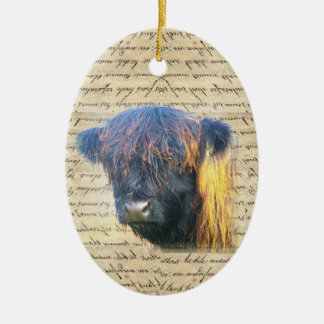 Highland cow Double-Sided oval ceramic christmas ornament