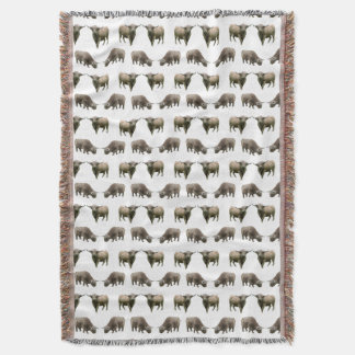 Highland Cow Frenzy Throw Blanket (choose colour)