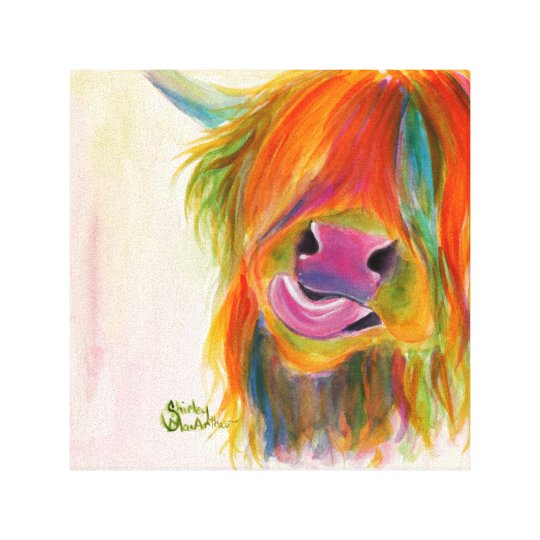 Highland Cow 'Juicy Fruit Josie' Canvas Print