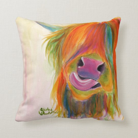 Highland Cow 'Juicy Fruit Josie' Pillow Cushion