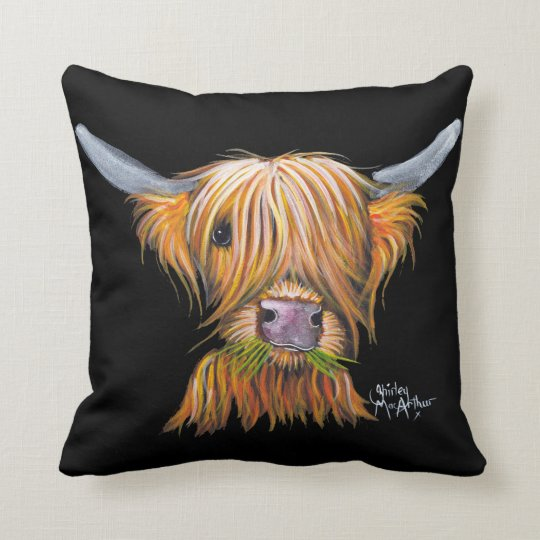 Highland Cow 'Little Viking' Throw Pillow Cushion