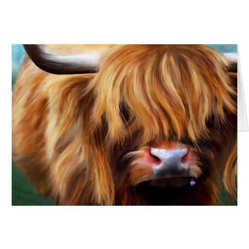 Highland Cow Painting Card