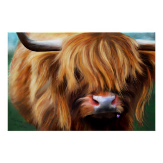 Highland Cow Painting Poster