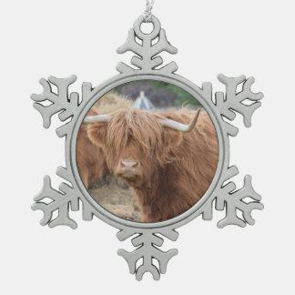 Highland Cow Pewter Snowflake Decoration