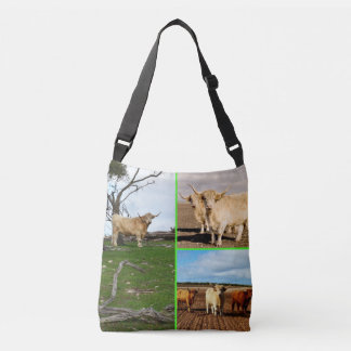 Highland Cow Photo Collage, Crossbody Bag