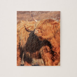 Highland Cow Puzzle with Tin