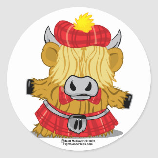 Highland Cow Red Kilt Round Sticker