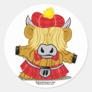 Highland Cow Red Kilt Round Sticker