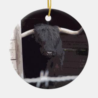 Highland Cow Round Ceramic Decoration