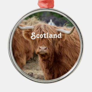 Highland Cow Silver-Colored Round Decoration
