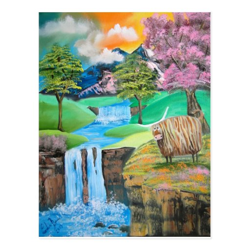 HIGHLAND COW WATERFALL POST CARDS