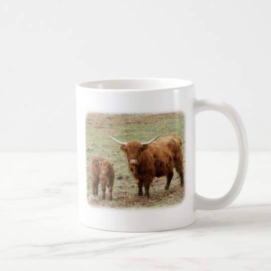 Highland Cow with calf 9Y316D-048 Coffee Mug