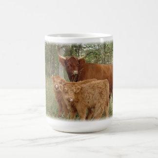 Highland Cow with Calves Basic White Mug