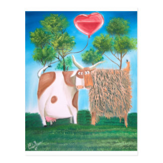 HIGHLAND COWS LOVE HEART PAINTING POSTCARDS