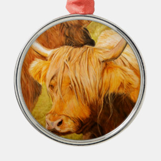Highland cows, scottish cattle Silver-Colored round decoration