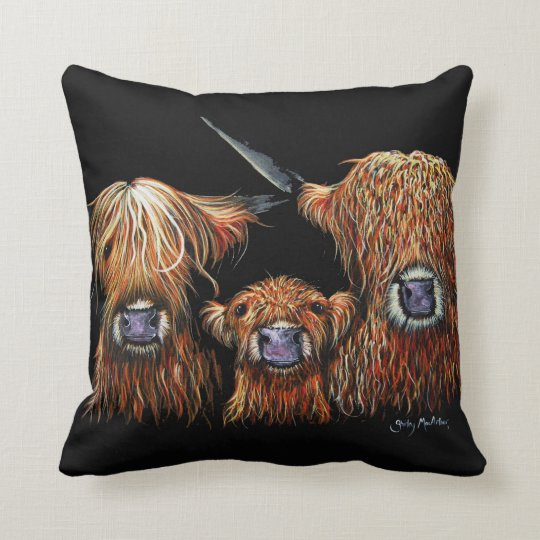 Highland Cows 'We 3 Coos on Black' Pillow