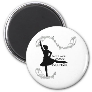Highland Dance Teacher - Black Silhouette 6 Cm Round Magnet