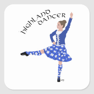 Highland Dancer in Blue Square Sticker