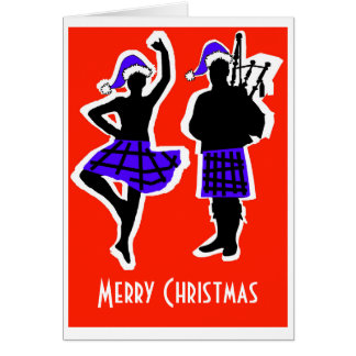 Highland Dancer & Piper Christmas Card