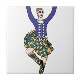 Highland Dancer Small Square Tile