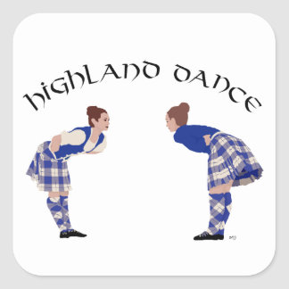 Highland Dancers Bow Square Sticker