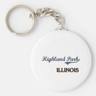 Highland Park Illinois City Classic Basic Round Button Key Ring
