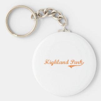 Highland Park Illinois Classic Design Basic Round Button Key Ring