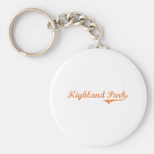 Highland Park Illinois Classic Design Keychain