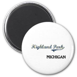 Highland Park Michigan City Classic 6 Cm Round Magnet