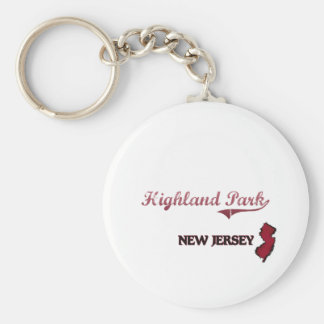 Highland Park New Jersey City Classic Basic Round Button Key Ring