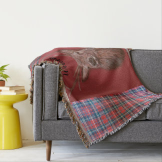 Highland `Red deer stag' & Tartan Throw Blanket