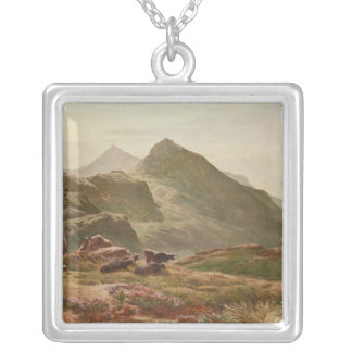 Highland scene silver plated necklace