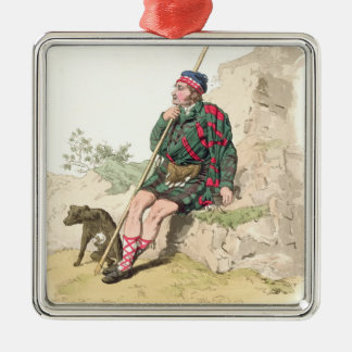 Highland Shepherd, from 'Costume of Great Britain' Silver-Colored Square Decoration