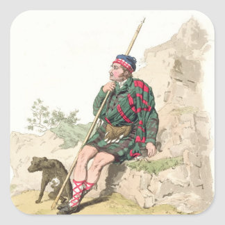 Highland Shepherd, from 'Costume of Great Britain' Square Sticker