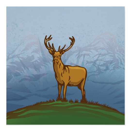 Highland stag poster