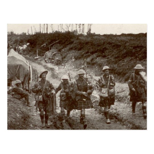 Highlanders in WWI Postcard