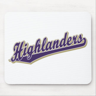 Highlanders script logo in purple and gold mouse pad