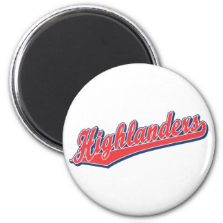Highlanders script logo in red and blue 6 cm round magnet