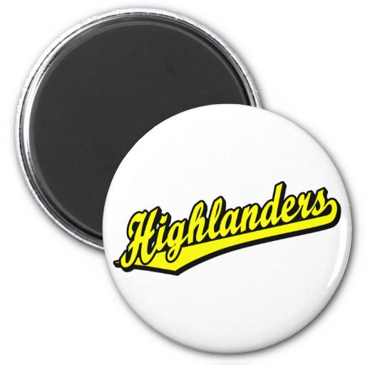 Highlanders script logo in Yellow Refrigerator Magnets